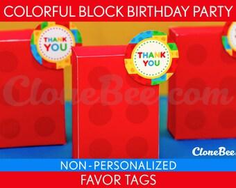 Colorful Block Birthday Party - Favor Tags & Bonus: Favor Box NonPersonalized Printable // Colorful Block - B22Nk