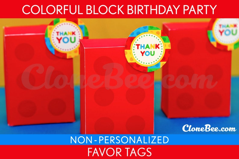 Colorful Block Birthday Party  Favor Tags & Bonus: Favor Box image 0
