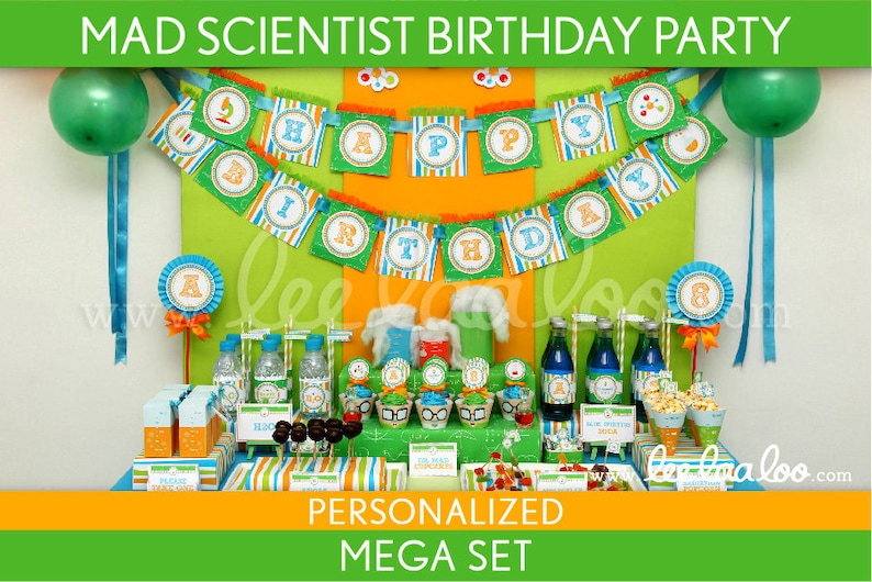 Mad Scientist Birthday Party Package Collection Set Mega image 0