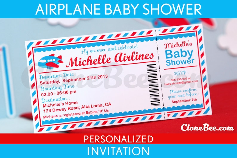 Airplane Baby Shower Invitation Personalized Printable // image 0