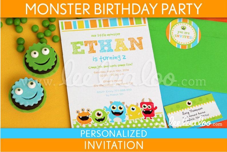 Little Monster Birthday Invitation  Portrait  B106Pa1 image 0