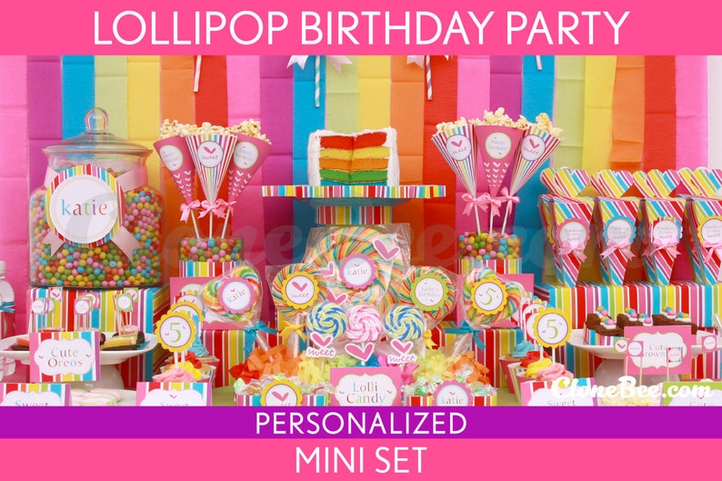 Lollipop Birthday Party Package Collection Set Mini image 0