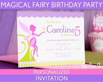 Magical Fairy Birthday Party Invitation Personalized Printable //  Magical Fairy - B95Pa2