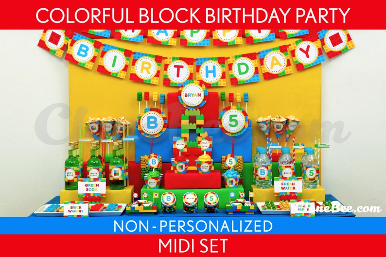 Colorful Blocks Birthday Party Package Collection Set Midi image 0