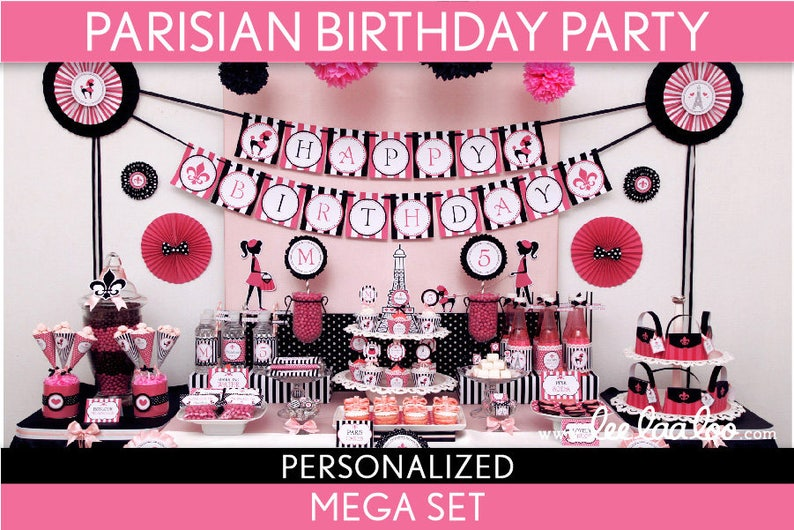 Parisian Birthday Party Package Collection Set Mega image 0