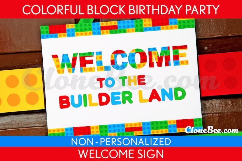 Colorful Blocks Birthday Party  Welcome Sign & Bonus: Party image 0