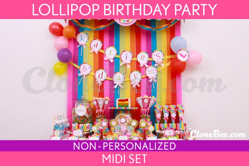 Lollipop Birthday Party Package Collection Set Midi image 0