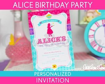 Alice Birthday Party Invitation Personalized Printable // Wonderland Tea Party - B40Pa1