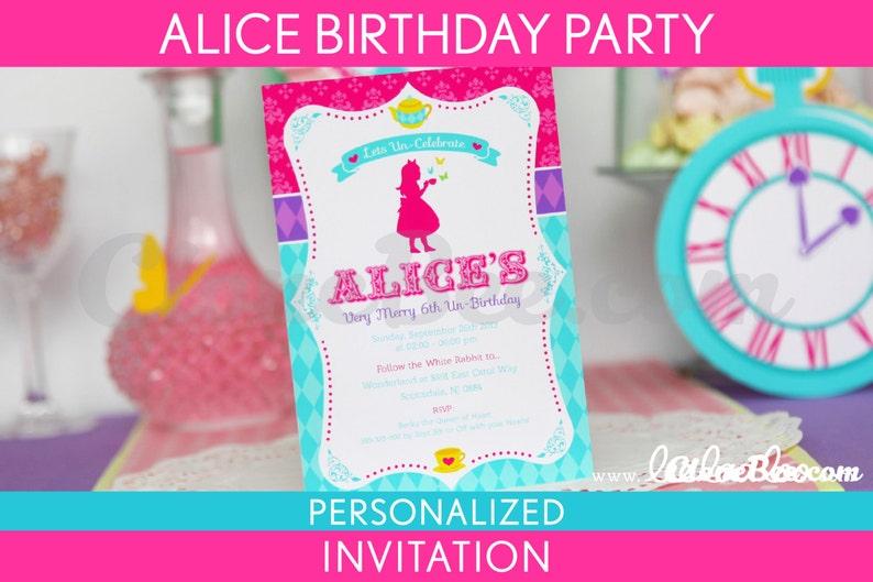 Alice Birthday Party Invitation Personalized Printable // image 0