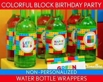 Colorful Block Birthday Party - Water Bottle Wrappers & Bonus: Straw Flags NonPersonalized Printable // Colorful Block - B22Ne