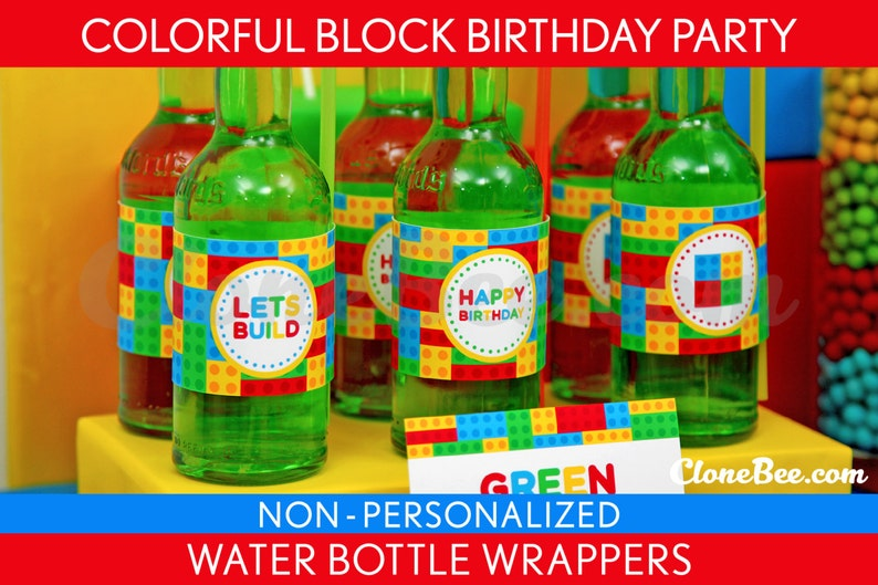 Colorful Block Birthday Party  Water Bottle Wrappers & Bonus: image 0