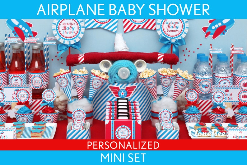 Airplane Baby Shower Package Collection Set Mini Personalized image 0