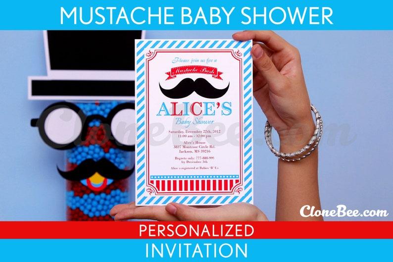 Mustache Bash Little Man Birthday Party Invitation image 1