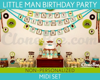 Little Man Birthday Party Package Collection Set Midi NonPersonalized Printable // Little Man - B17Nz2