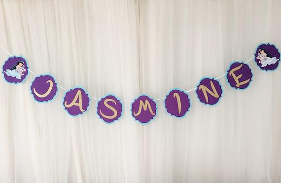jasmine birthday banner name birthday banner party birthday etsy