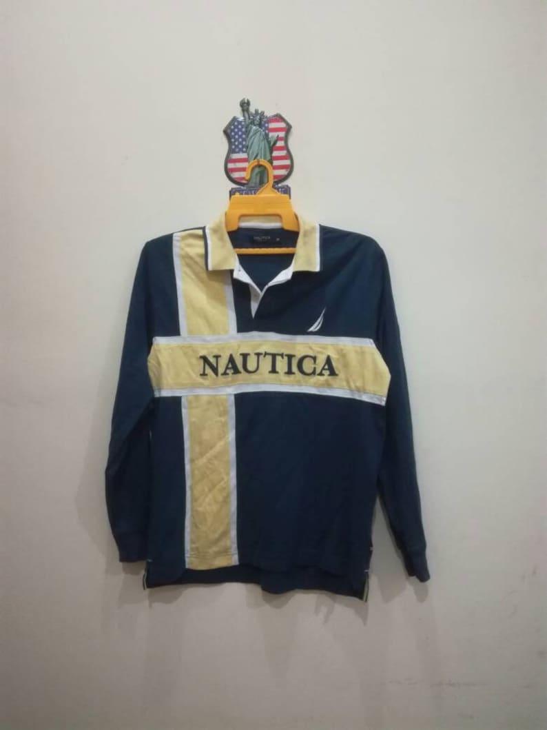 Cool Nautica embroidery big logo spelling graphic tee shirt aj