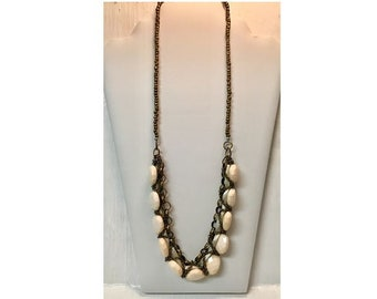 """Statement Necklace in Cream and Copper 30"""""""