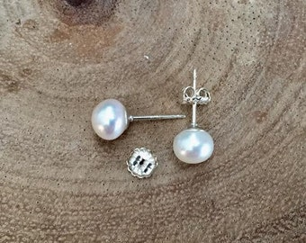 Freshwater pearl earrings, White pearls, First Communion gift, sterling silver, baby girl earrings, Flower girl earrings, Bridal jewelry