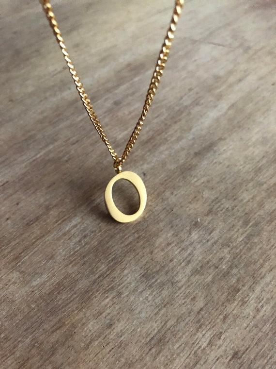 b1370cd618df04 Gold monogram necklace letter O name necklace letter | Etsy