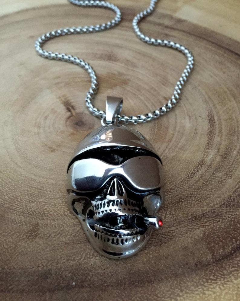Skull necklace Memento mori jewelry Skull jewelry Human image 0