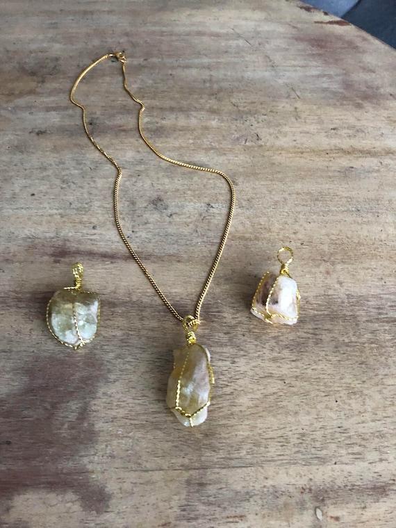healing crystal carnelian necklace cistine rough cut necklace Citrine necklace multi-crystal necklace boho necklace jade necklace