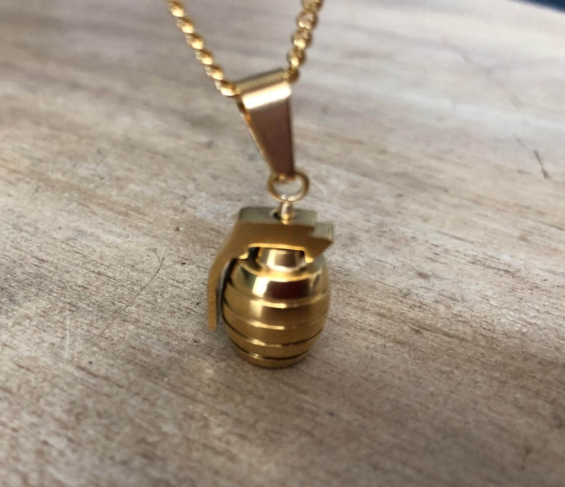 Stunning Bronze GRENADE Curb Chain Necklace