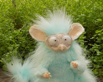 Little mint rat monster, mint fantasy creature monster, poseable doll, fantasy creature, Made to order, 7""