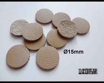 * ¤ 10 round leather color Beige - 15mm diameter ¤ * #C15