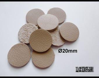 10 round leather color Beige - diameter 20 mm - #C16