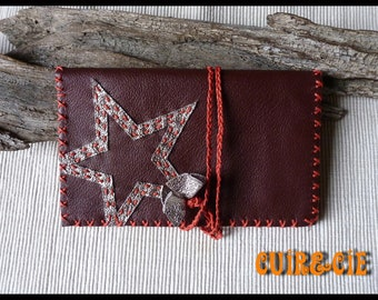 """""""Star"""" decoration Burgundy brown leather tobacco pouch"""