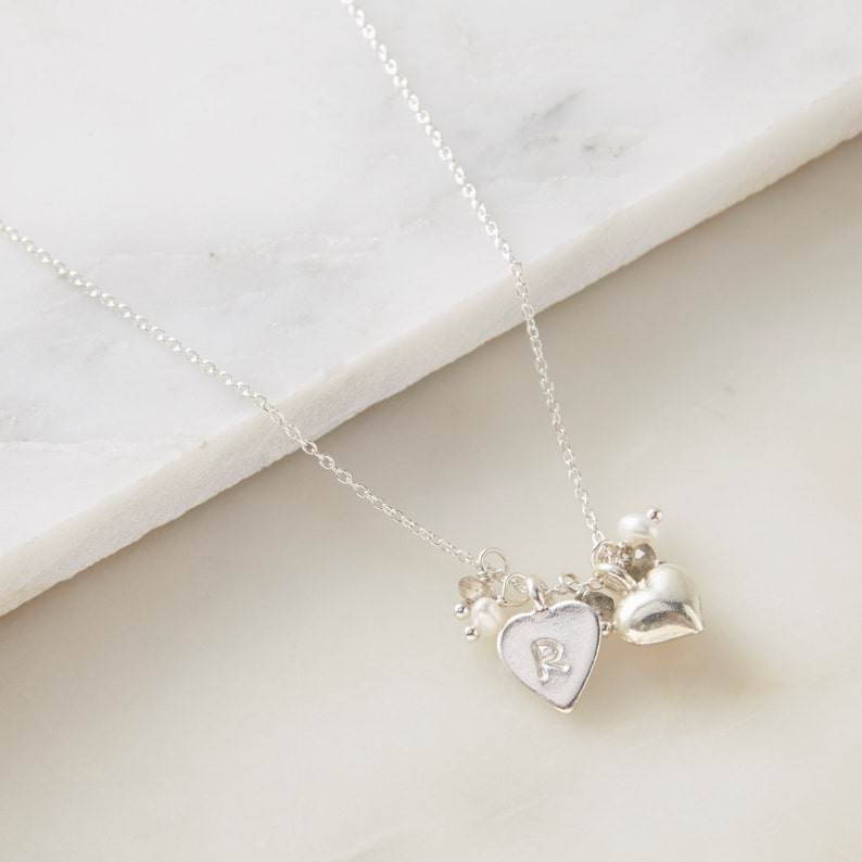 Sterling Silver Necklace Delicate Jewellery Personalised Silver Hearts and Labradorite Necklace Hearts Necklace Pearl Bridal Necklace