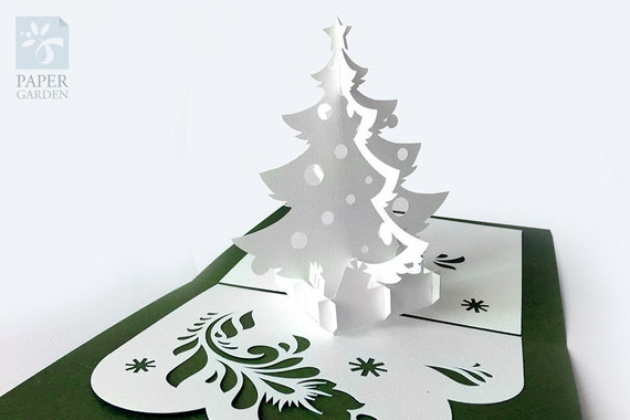 Papercut Template Pop-up Card Christmas Tree Instant   Etsy