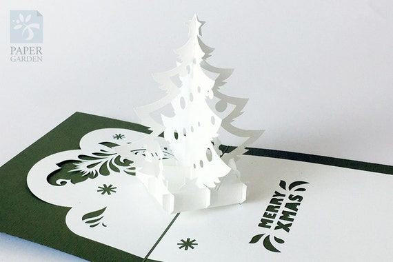 Papercut Template Pop Up Card Christmas Tree Instant Etsy