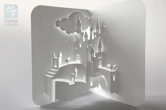 Papercut template pop up card castle instant download svg etsy image 0 maxwellsz