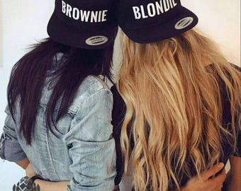 eace424450802 BROWNIE and BLONDIE Embroidered Flat Bill Snapback Cap