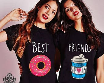 a3b54375 Best Friends shirts, Besties, BFF, Food Lovers, Food Shirts, Coffee and  Donut T-shirts, Matching Friends T-shirt Gift, 100% cotton, UNISEX