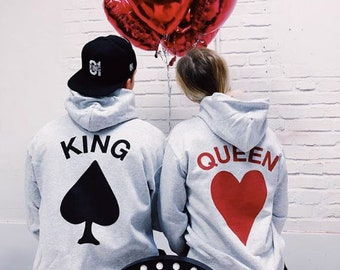 b10a3db734 King Queen King and Queen Hoodies Couple Hoodies Couple Sweatshirts King  Queen Sweatshirts Matching Hoodies Valentines day Gift