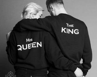 The King and His Queen matching Sweaters, The King and His Queen Couples Sweater Set, The King and His Queen pullover, Custom Numbers