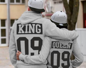 King and Queen  matching Sweaters, King and Queen Couples Hoodie Set, King and Queen pullover, Custom Sweaters with Custom Numbers