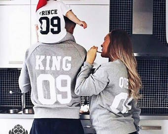 King and Queen Couple Sweater set, King and Queen Couple  Couples Hoodie set, Sweater Custom with Custom Numbers