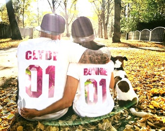 Bonnie Clyde 01  matching shirts, Bonnie Clyde Couples Shirt, Bonnie Clyde shirts, Custom Shirts  Custom Numbers, 100% cotton, Unisex