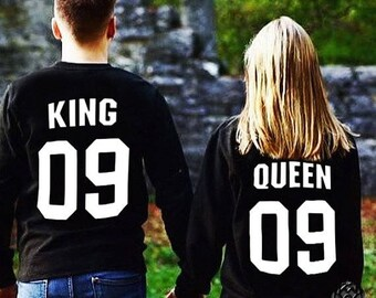 King and Queen  matching Sweaters, King and Queen Couples Sweater Set, King and Queen pullover, Custom Sweaters with Custom Numbers
