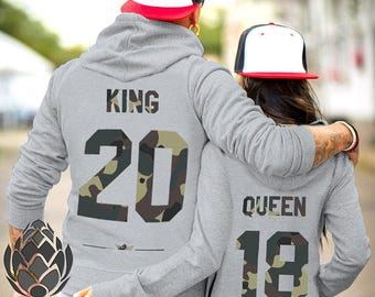 King and Queen matching Sweaters, King and Queen Couples Hoodie, King and Queen pullover, Custom Sweaters with Custom Numbers