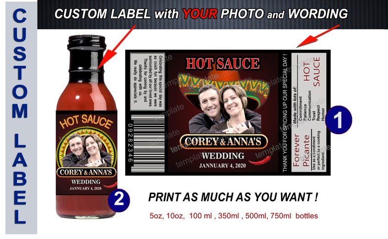 Mexican favors Customized hot sauce labels for wedding Fiesta food labels Muchas Gracias labels Tapatio Wedding hot sauce labels