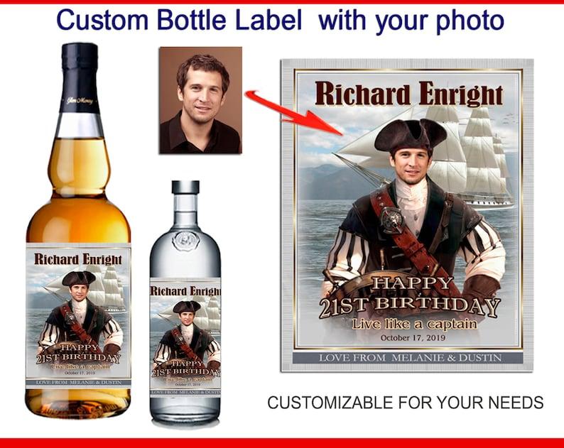 Custom liquor label with photo Captain Morgan label Birthday bottle label Captain Morgan label for birthday Personalized rum label