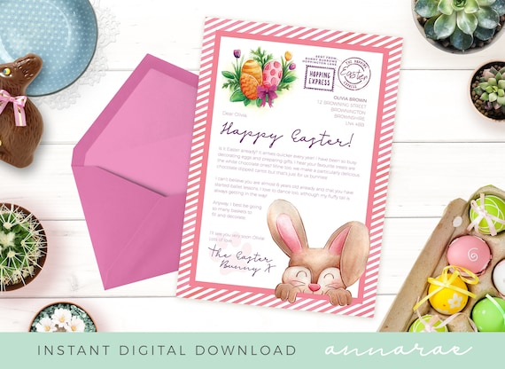 photo relating to Letter From Easter Bunny Printable named Easter Letter Template Red - Letter in opposition to Easter Bunny, Printable Letter, Quick Down load, Easter Printable, Easter Template, Easter Bunny