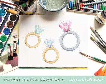 Diamond Ring Watercolour Painting -  Watercolor Paintings, Graphic, Illustration, Instant Download, Clipart, Watercolour Illustration, Rings