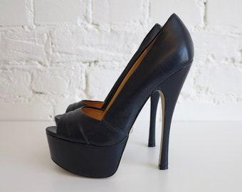 Buffalo London Platform Shoes High Heels Shoes Leather Shoes Open Toe Shoes High Heel Pumps Size EUR 37