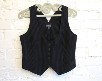Black Striped Vest Womens Vest Steampunk Vest Edwardian Victorian Formal Fitted Waistcoat Large Size