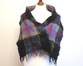 Plaid Mohair Scarf Scotish Style Scarf Warm Vintage Scarf Men or Women Shawl Black Blue Red Yellow Plaid